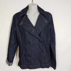 The Limited Jean Jacket Double Breasted Dark Wash